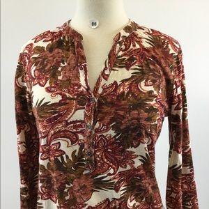 Lucky Brand Floral Button Shirt Size M (B-88)
